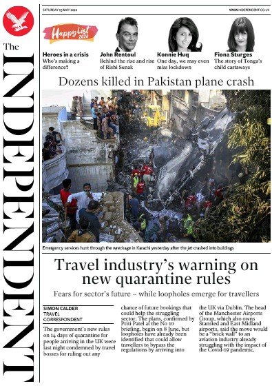 The Independent Newspaper Front Page (UK) for 23 May 2020