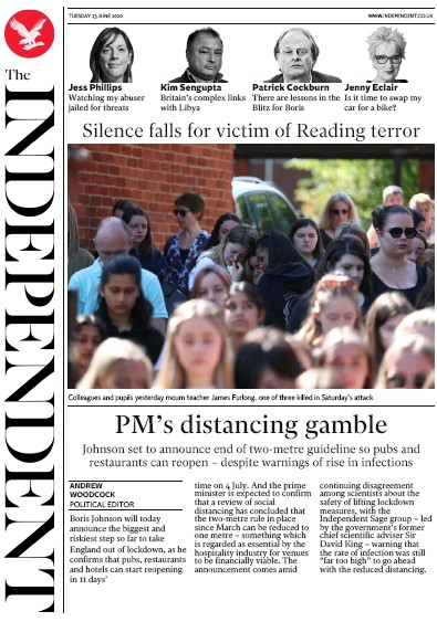 The Independent Newspaper Front Page (UK) for 23 June 2020