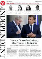 The Independent (UK) Newspaper Front Page for 23 August 2019