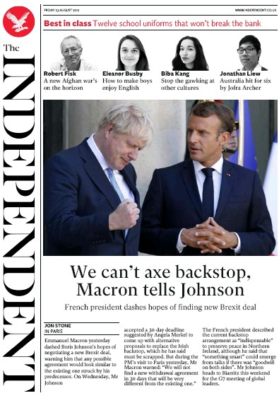 The Independent Newspaper Front Page (UK) for 23 August 2019
