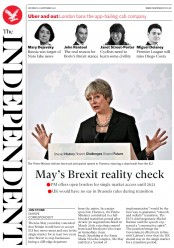 The Independent (UK) Newspaper Front Page for 23 September 2017