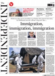 The Independent (UK) Newspaper Front Page for 24 October 2014