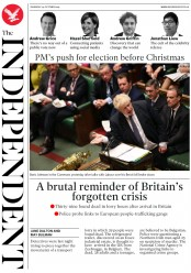 The Independent (UK) Newspaper Front Page for 24 October 2019