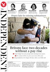The Independent (UK) Newspaper Front Page for 24 November 2017