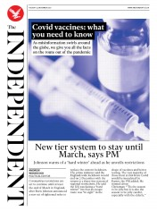 The Independent front page for 24 November 2020