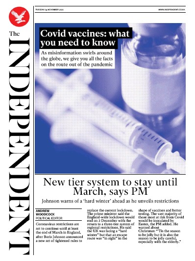 The Independent Newspaper Front Page (UK) for 24 November 2020