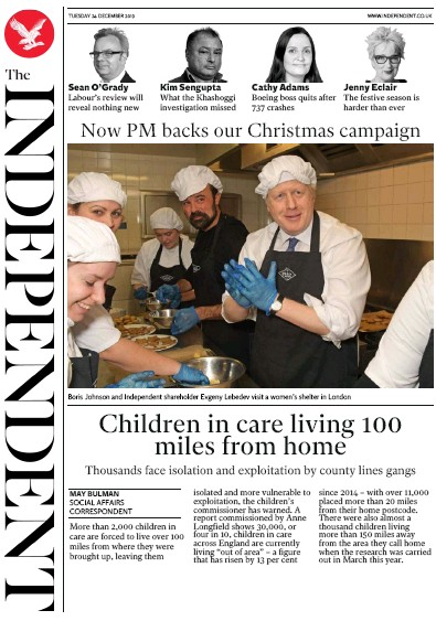 The Independent Newspaper Front Page (UK) for 24 December 2019