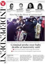 The Independent (UK) Newspaper Front Page for 24 January 2020