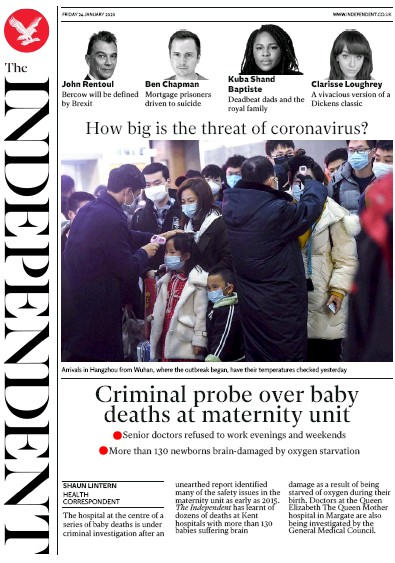 The Independent Newspaper Front Page (UK) for 24 January 2020