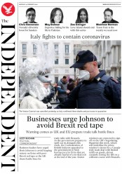 The Independent (UK) Newspaper Front Page for 24 February 2020