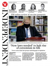 The Independent front page for 24 February 2021