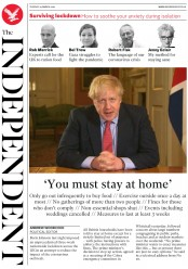 The Independent (UK) Newspaper Front Page for 24 March 2020