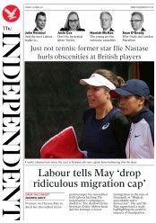 The Independent (UK) Newspaper Front Page for 24 April 2017