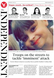 The Independent (UK) Newspaper Front Page for 24 May 2017