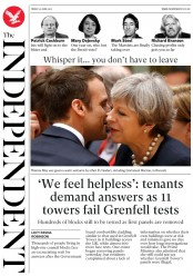 The Independent (UK) Newspaper Front Page for 24 June 2017