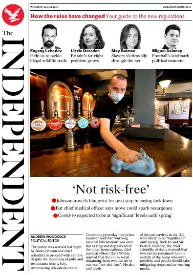 The Independent Newspaper Front Page (UK) for 24 June 2020