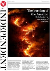 The Independent () Newspaper Front Page for 24 August 2019