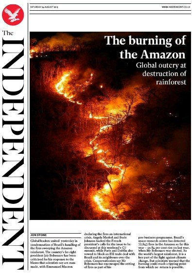 The Independent Newspaper Front Page (UK) for 24 August 2019