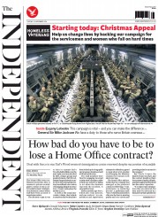The Independent (UK) Newspaper Front Page for 25 November 2014