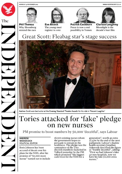 The Independent Newspaper Front Page (UK) for 25 November 2019