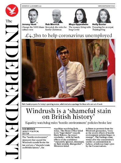 The Independent Newspaper Front Page (UK) for 25 November 2020