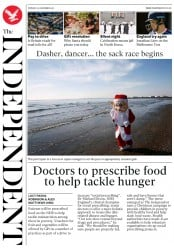 The Independent (UK) Newspaper Front Page for 25 December 2017