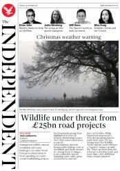 The Independent (UK) Newspaper Front Page for 25 December 2018