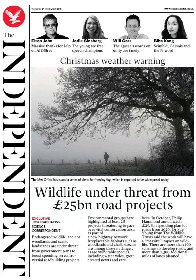 The Independent Newspaper Front Page (UK) for 25 December 2018