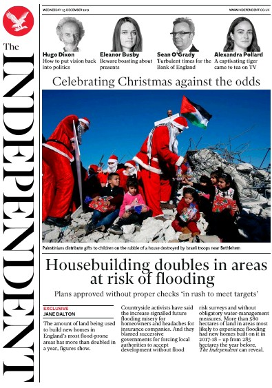 The Independent Newspaper Front Page (UK) for 25 December 2019