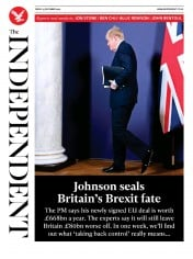 The Independent (UK) Newspaper Front Page for 25 December 2020