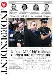 The Independent () Newspaper Front Page for 25 January 2019