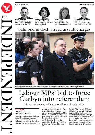 The Independent Newspaper Front Page (UK) for 25 January 2019