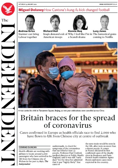 The Independent Newspaper Front Page (UK) for 25 January 2020