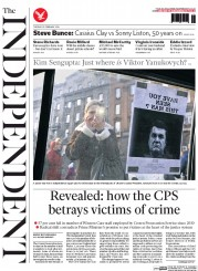 The Independent () Newspaper Front Page for 25 February 2014
