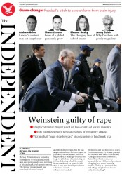 The Independent (UK) Newspaper Front Page for 25 February 2020