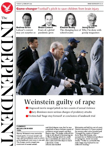 The Independent Newspaper Front Page (UK) for 25 February 2020