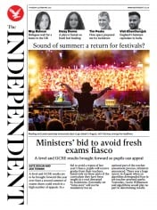The Independent front page for 25 February 2021