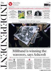 The Independent (UK) Newspaper Front Page for 25 April 2015