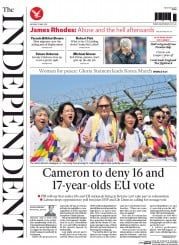 The Independent (UK) Newspaper Front Page for 25 May 2015