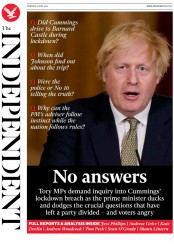 The Independent front page for 25 May 2020