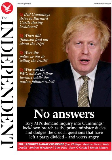 The Independent Newspaper Front Page (UK) for 25 May 2020