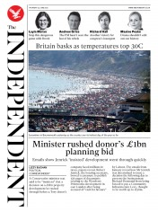The Independent front page for 25 June 2020