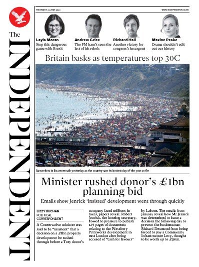 The Independent Newspaper Front Page (UK) for 25 June 2020