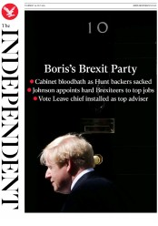 The Independent (UK) Newspaper Front Page for 25 July 2019