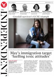 The Independent (UK) Newspaper Front Page for 25 August 2017