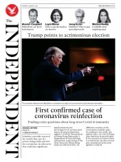 The Independent (UK) Newspaper Front Page for 25 August 2020