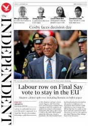The Independent (UK) Newspaper Front Page for 25 September 2018