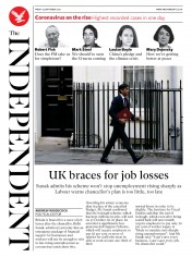 The Independent (UK) Newspaper Front Page for 25 September 2020