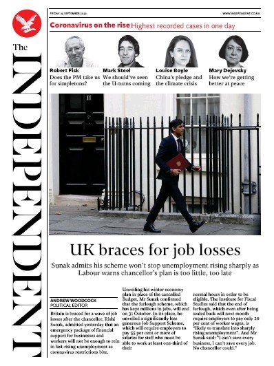 The Independent Newspaper Front Page (UK) for 25 September 2020