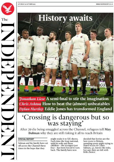 The Independent Newspaper Front Page (UK) for 26 October 2019